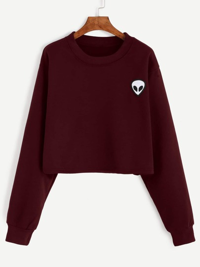 Sweat-shirt avez broderie motif alien - bordeaux