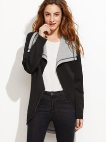 Black Drape Collar Curved Hem Double Sided Coat