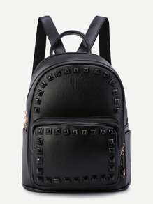 Black Rivet PU Front Pocket Backpack