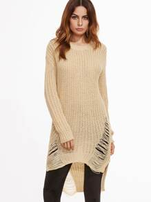 Apricot High Low Ripped Sweater Dress