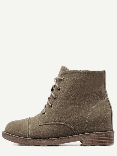 Coffee Nubuck Leather Cap Toe Hidden Heel Booties