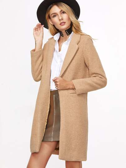 Khaki Lapel False Pocket Long Coat