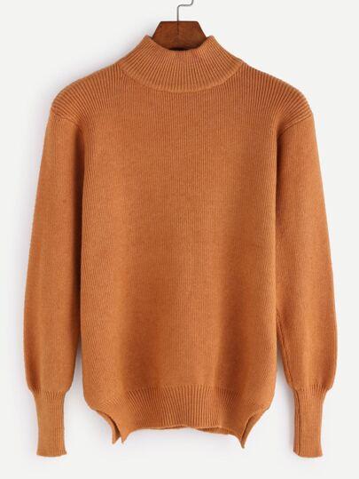 Khaki Mock Neck Slit Side Sweater