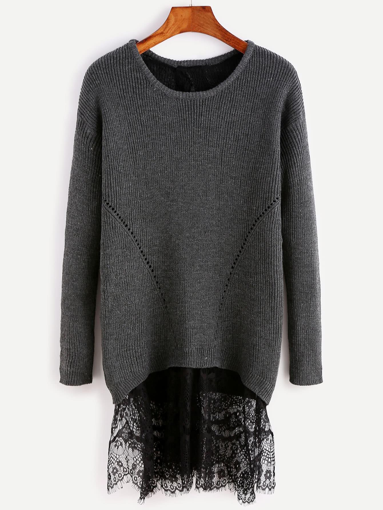 Black Drop Shoulder Split Back Sweater With Lace Detail sweater160815705