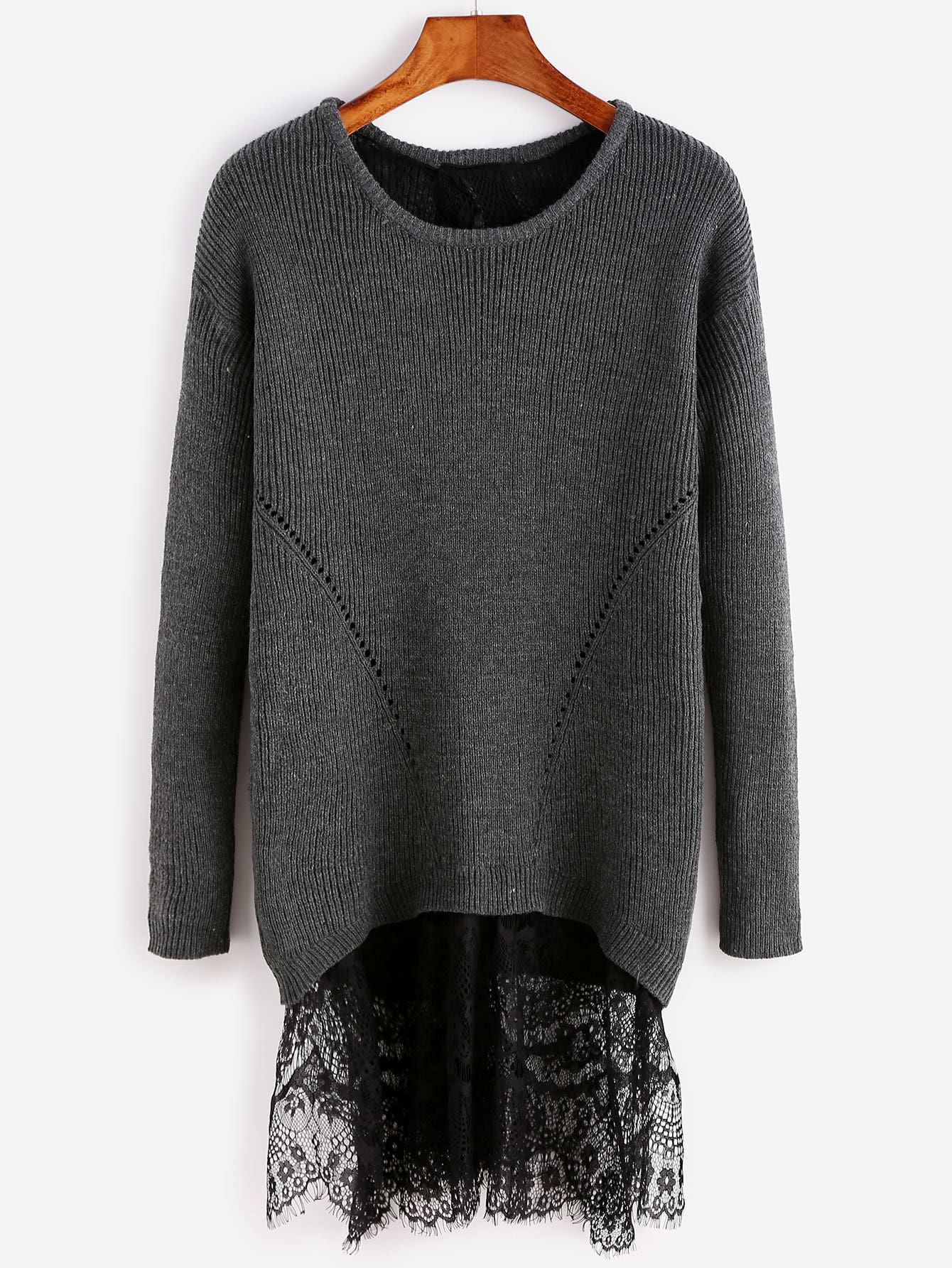 Black Drop Shoulder Split Back Sweater With Lace Detail sweater160815705