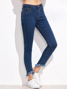 Blue Frayed Hem Denim Pants