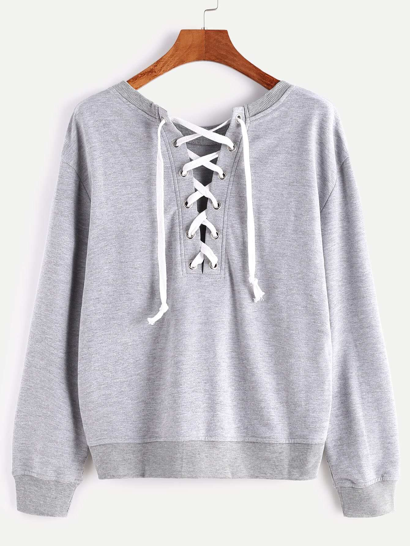Heather Grey Lace Up Back SweatshirtHeather Grey Lace Up Back Sweatshirt<br><br>color: Grey<br>size: M,S,XS