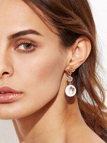 Gold Faux Pearl Multi Shape Asymmetrical Earrings