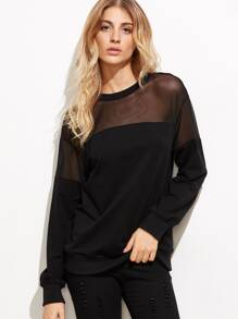 Sweat-shirt en mesh col rond - noir