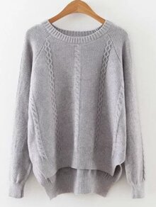 Grey Cable Pattern Slit Side High Low Sweater