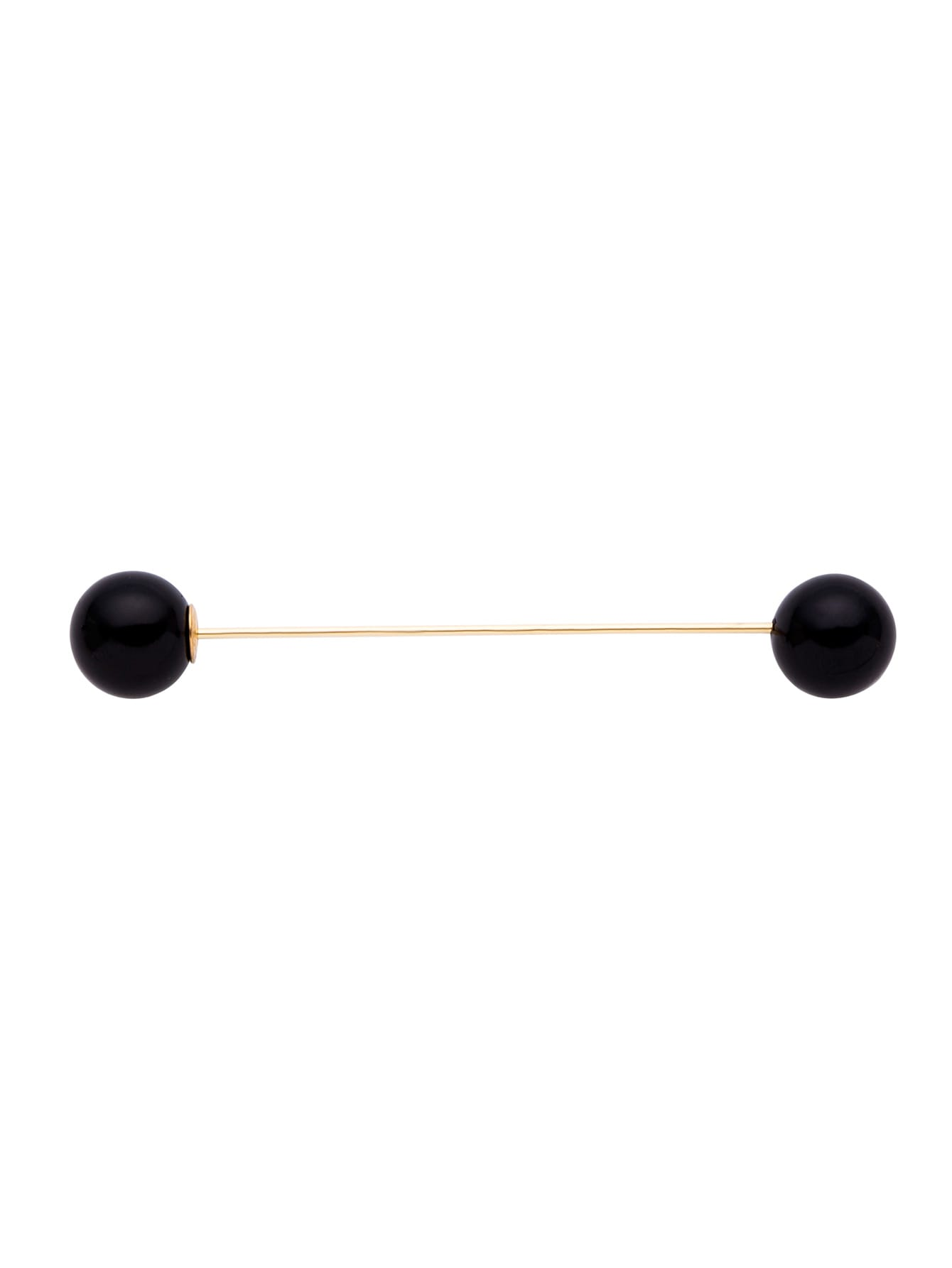 Black Double Faux Pearl Simple BroochBlack Double Faux Pearl Simple Brooch<br><br>color: Black<br>size: None