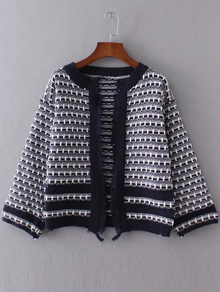 Navy Contrast Trim Fringe Detail Sweater Coat