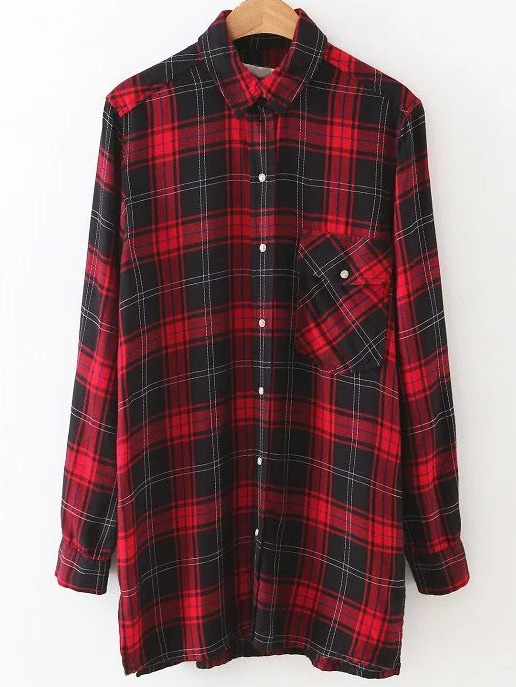 Buy Red Plaid Dragon Embroidery Button Blouse