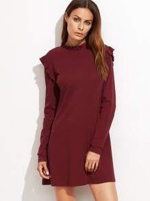 Burgundy Long Sleeve Tee Dress With Frill Detail