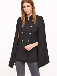 Double Breasted Cape Blazer With Pockets