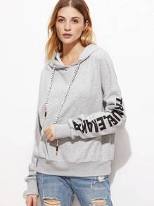 Heather Grey Letter Print Drop Shoulder Hoodie