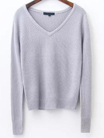 Grey V Neck Ribbed Trim Knitwear sweater161031220