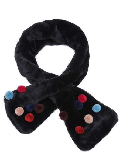 Black Faux Fur Colored Pom Pom Tippet Scarf