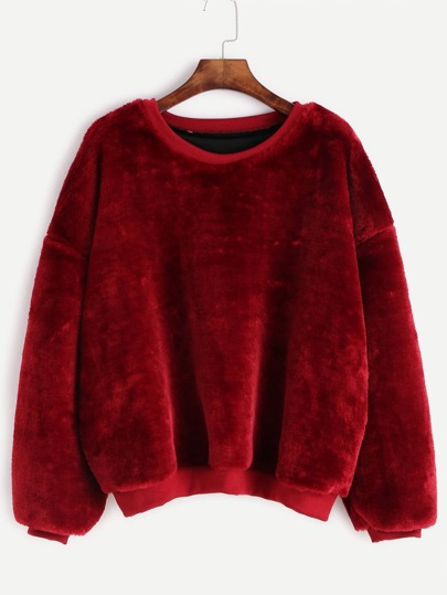 Burgundy Dropped Shoulder Seam Fuzzy Sweatshirt