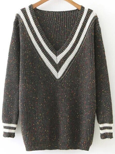 Striped V Neck Ribbed Trim Loose Sweater sweater161011205