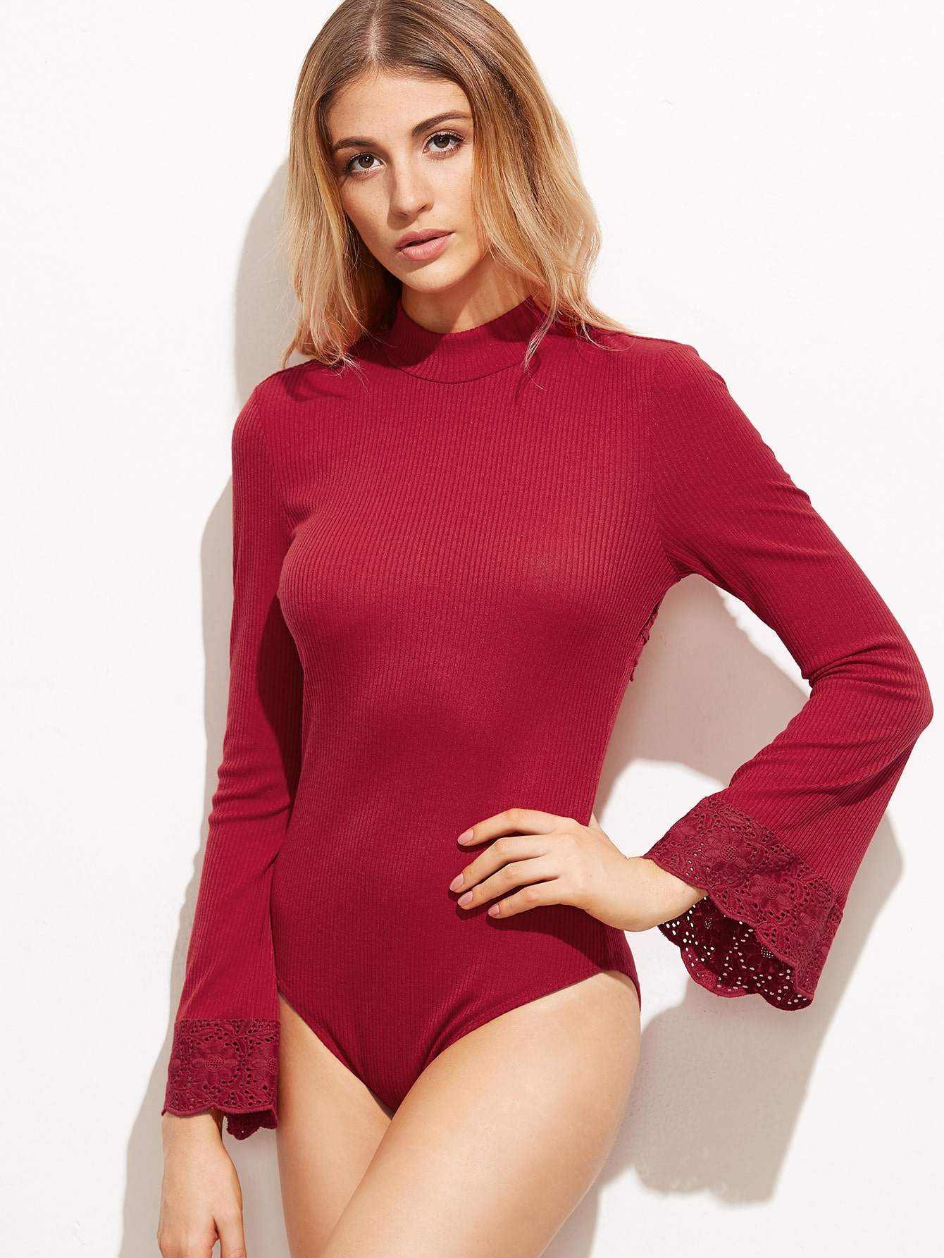 Burgundy Open Back Embroidered Lace Applique Ribbed BodysuitBurgundy Open Back Embroidered Lace Applique Ribbed Bodysuit<br><br>color: Burgundy<br>size: L,M,S,XS
