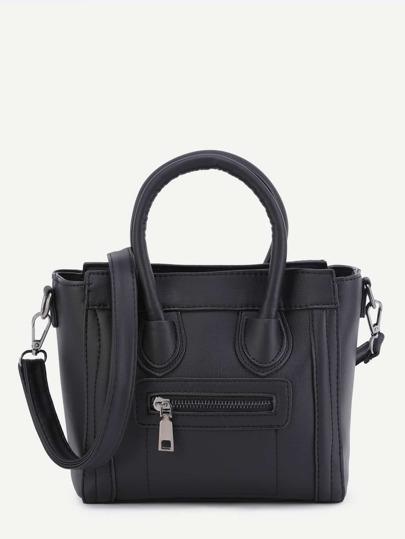 Black PU Front Zipper Handbag With Strap