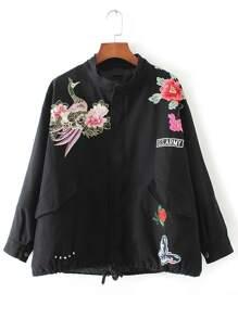 Black Floral Embroidery Drawstring Pocket Coat