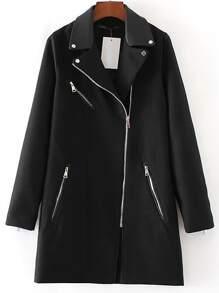 Abrigo largo con cremallera - negro