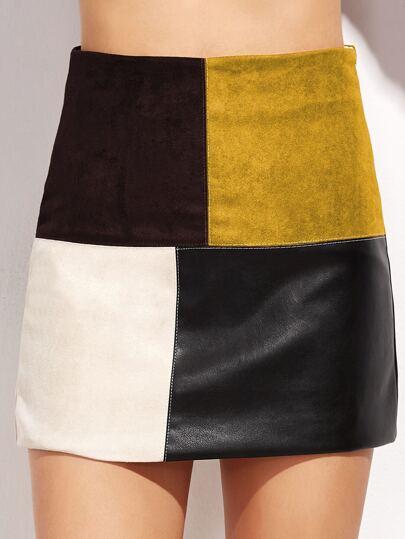 Contrast Patchwork Zipper Detail Skirt