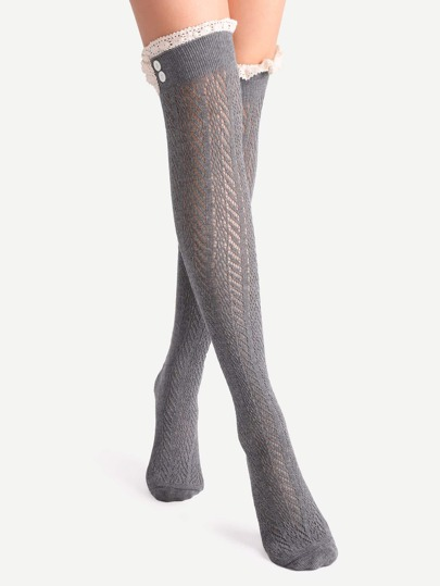 Dark Grey Lace Trim Textured Over The Knee Socks