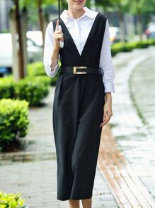 Black Lapel Belted Two-pieces Suspenders