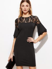 Black Sheer Lace Neck Ruffle Sleeve Bodycon Dress