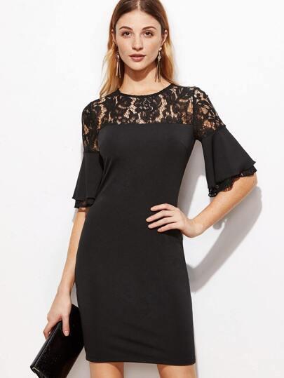 Contrast Lace Yoke Frill Sleeve Bodycon Dress