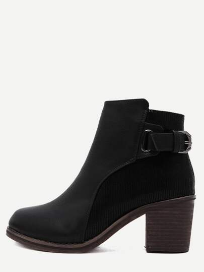 Black Sneakerskin Leather Embellished Buckle Strap Cork Heel Booties