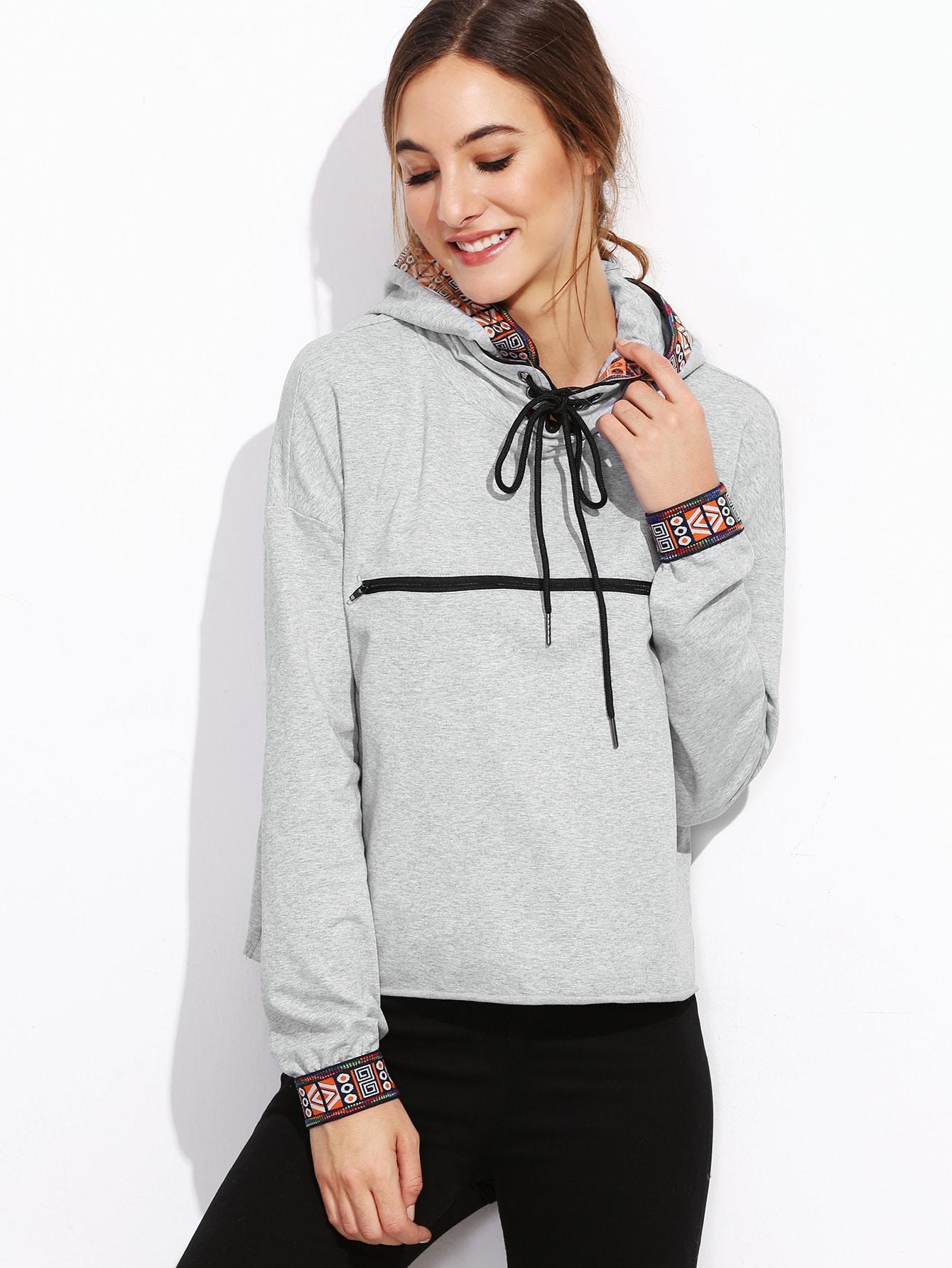Heather Grey Geo Trim Zip Front Hoodie sweatshirt161011711