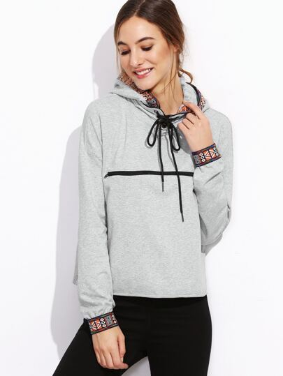 Sweat-shirt géométrique avec zip - gris