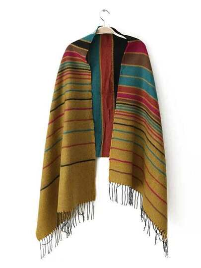 Multicolor Stripe Fringe Edge Shawl Scarf