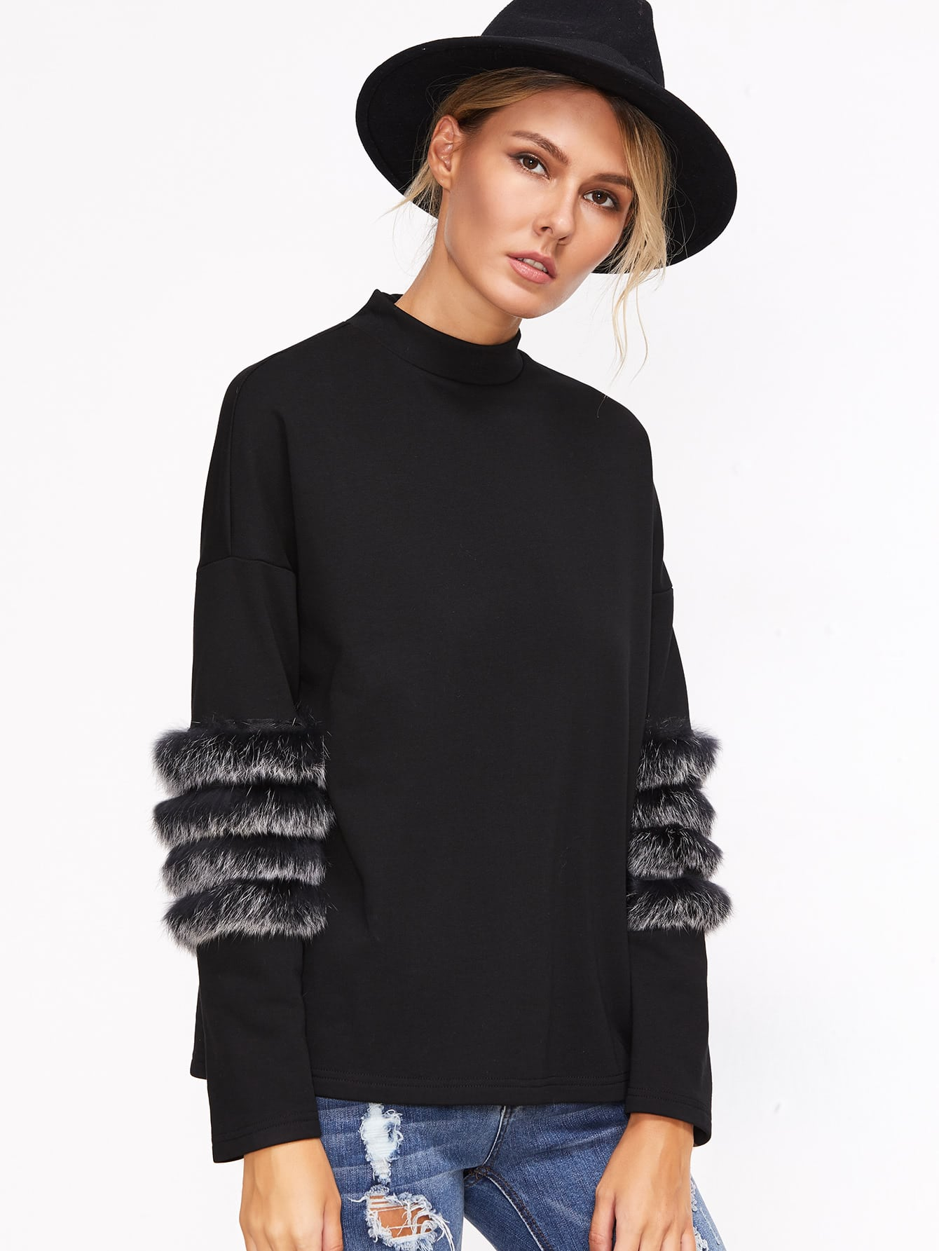 Black Drop Shoulder Striped Fur Trim T-shirt -SheIn(Sheinside)