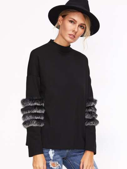 Black Drop Shoulder Striped Fur Trim T-shirt