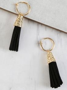Fringe Tassel Drop Earrings BLACK
