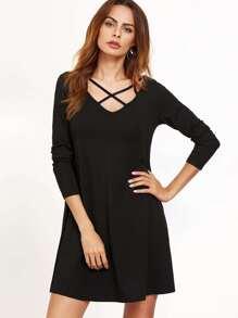 Black Caged V Neck Swing Dress