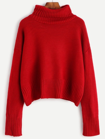 Burgundy Turtleneck Drop Shoulder Sweater