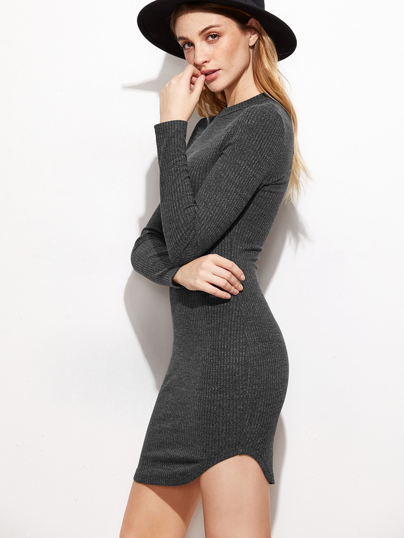 Ribbed Knit Curved Hem Bodycon Dress dress161028703