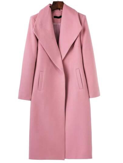 Pink Shawl Collar Longline Coat