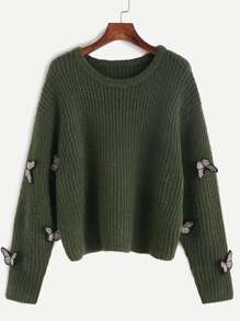 Olive Green Embroidered Butterfly Applique Ribbed Sweater