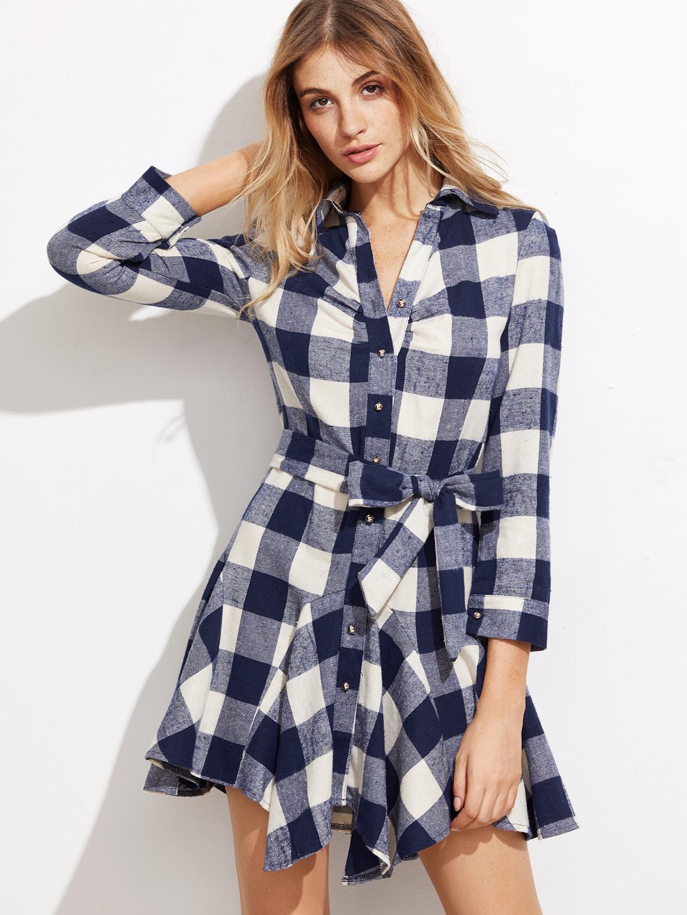 Купить Модное клетчатое платье-рубашка с поясом, Nathane, SheIn