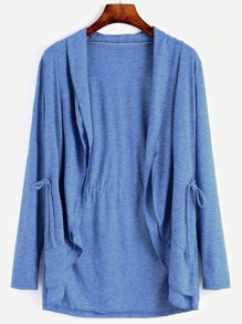 Blue Shawl Collar Tiered Drawstring Coat