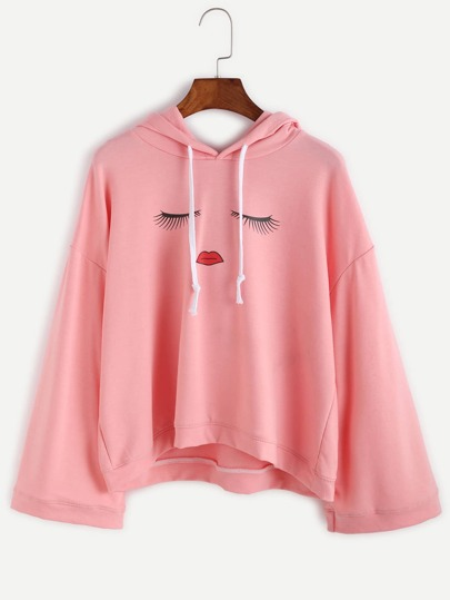 Pink Eyes Print Drop Shoulder Hooded Sweatshirt