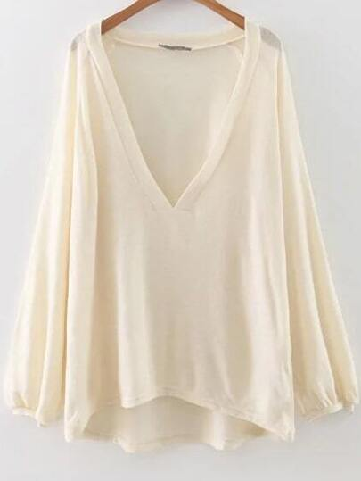 White Deep V Neck High Low Blouse