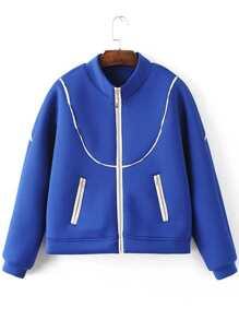 Blue Contrast Trim Zipper Up Jacket